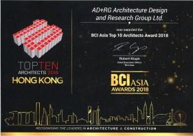 2018 BCI Asia Top 10 Architects Award 2018 - Hong Kong