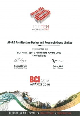 2016 BCI Asia Top 10 Architects Award 2016 - Hong Kong